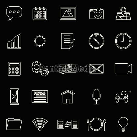 application line icons on black background