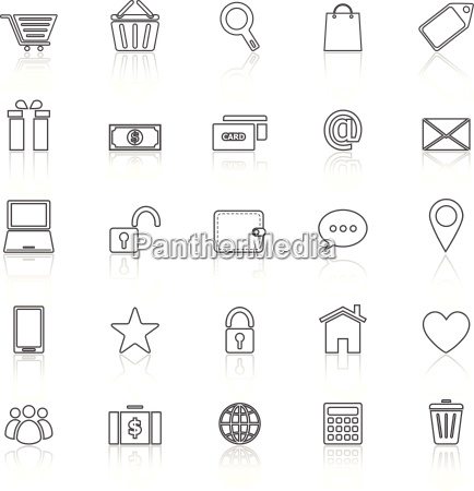 ecommerce line icons with reflect on