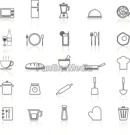 kitchen line icons with reflect on
