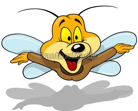 flying happy beetle