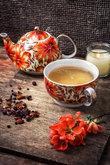 porcelain cup of fragrant tea for