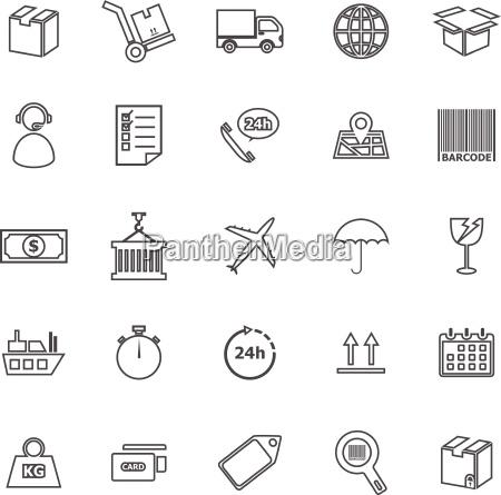 logistics line icons on white background
