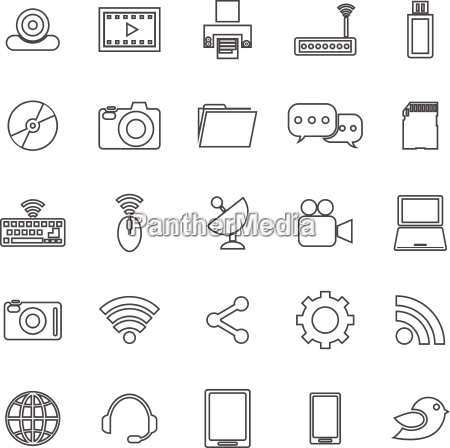 hi tech line icons on white