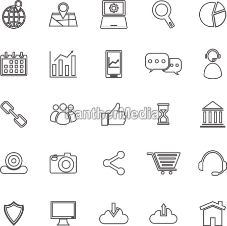 seo line icons on white background