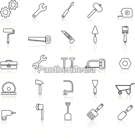 tool line icons with reflect on