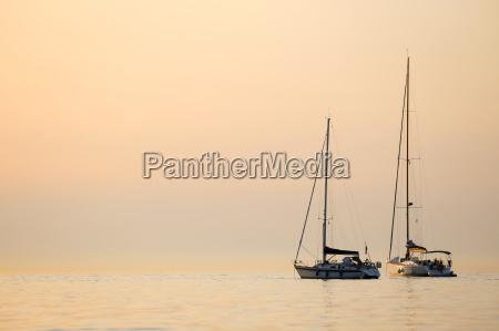 boats anchored in adriatic sea