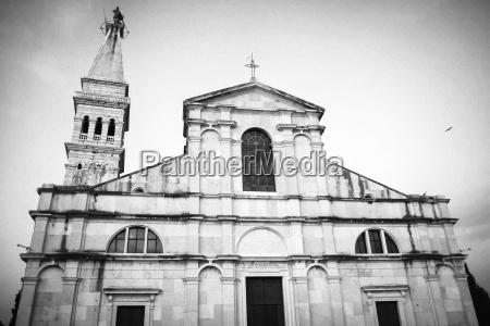 exterior of saint euphemia church bw