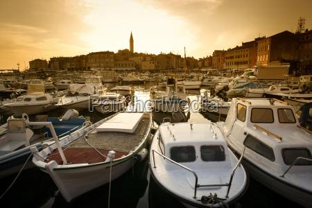 boats in marina of rovinj at