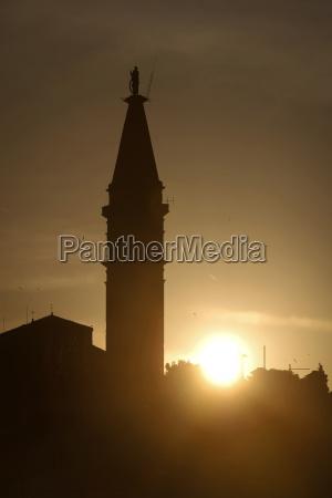 saint euphemia bell tower at sunset