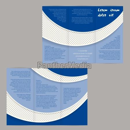 tri-fach, flyer, broschüre, vorlage, mit, blauen - 14326885