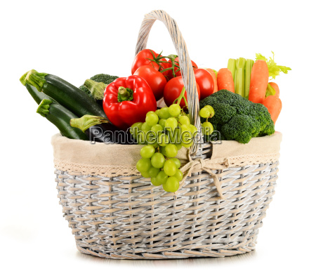 organic vegetables and fruits in wicker
