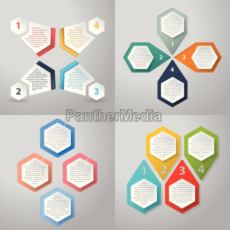 infographics background with 4 option hexagon