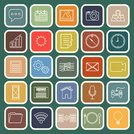 application line flat icons on green
