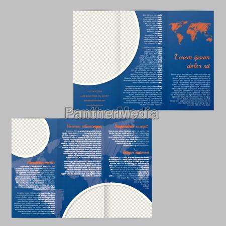 flyer broschuere template design mit weltkarte
