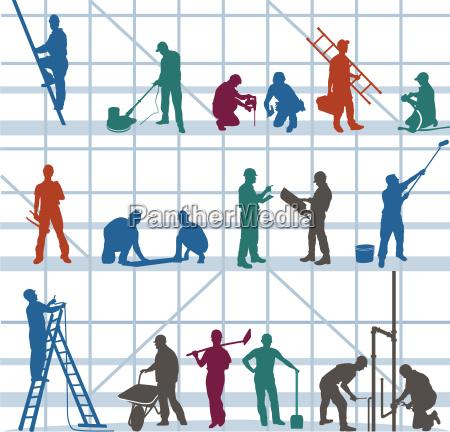 bauarbeiter und handwerker