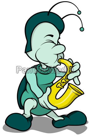 beetle playing a saxophone