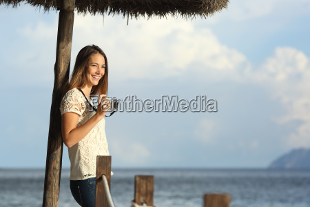 tourist traveler girl enjoying holidays looking