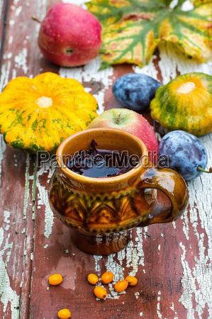 cup of tea in the autumn