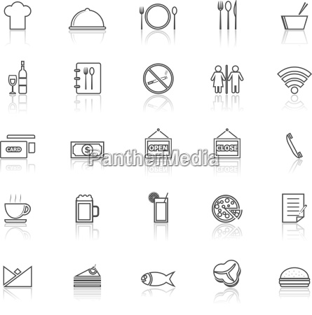restaurant line icons with reflect on