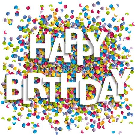 happy birthday buchstaben mit konfetti vektor