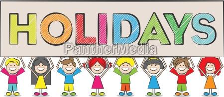 kids with a holidays sign