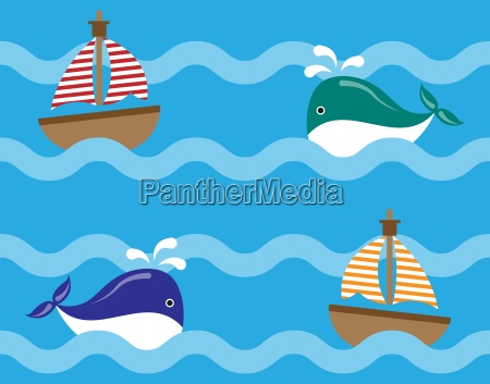 seamless ocean pattern background vector