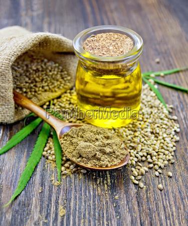 flour hemp in spoon with oil