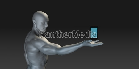 man showing off a new smartphone
