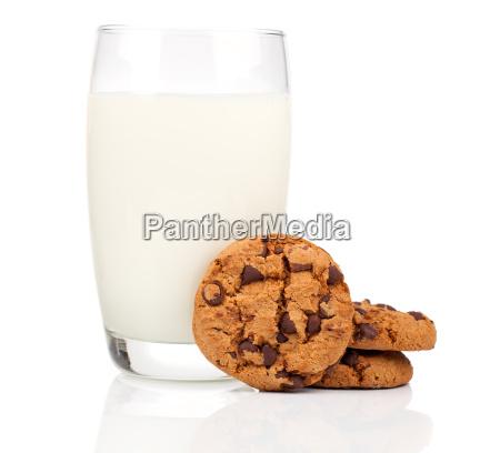 glas milch und schokolade kekse