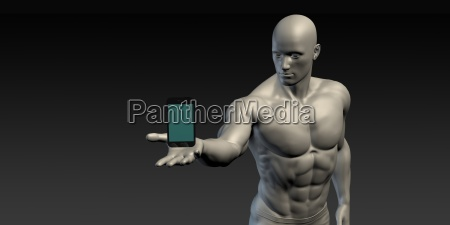 man showing a hovering smartphone