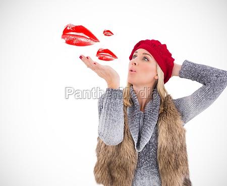 composite image of blonde in winter