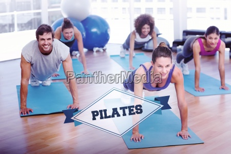 the word pilates and people doing