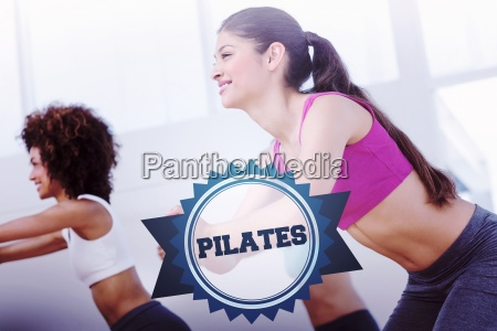 the word pilates and cheerful fitness