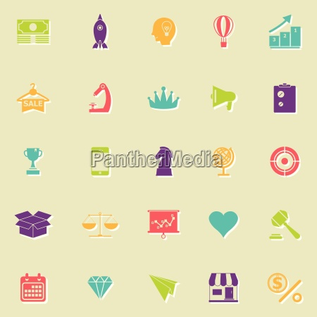 marketing strategy flat icons with shadow