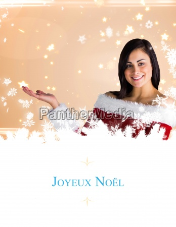 composite image of pretty girl presenting