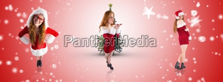 composite image of festive redhead blowing
