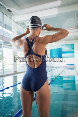 rear view of a female swimmer