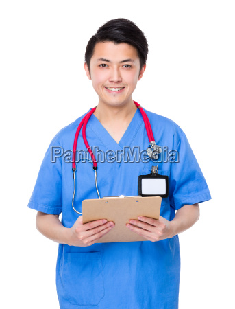 young doctor hold with clipboard