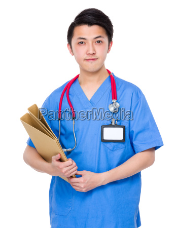 asian doctor hold with folder