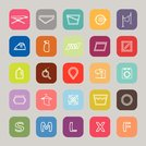 cloth care sign line flat icons