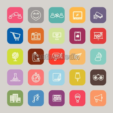 media marketing line flat icons