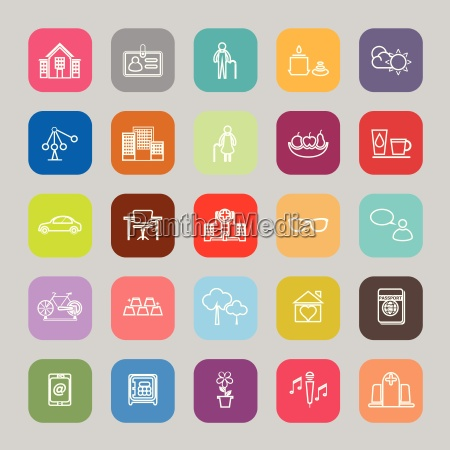 retirement community line flat icons