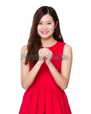 chinese woman with cross arm for