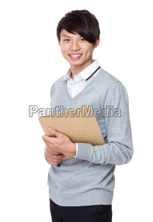 young businessman hold with clipboard