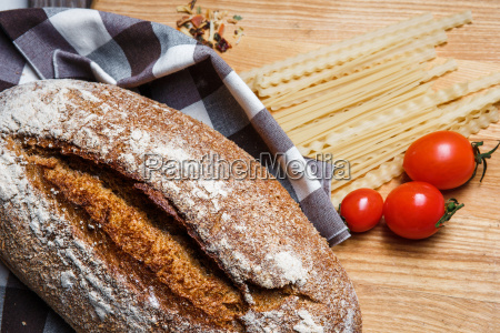 the bread on an wooden background