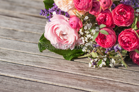 romantic bouquet with pink roses