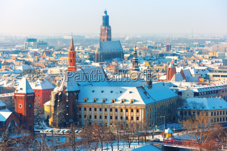aerial view of wroclaw in the