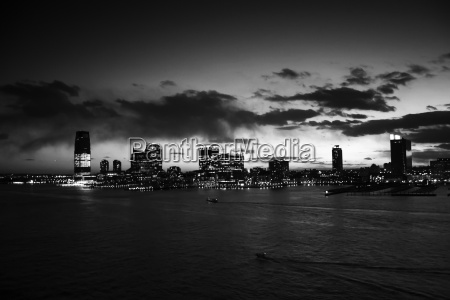 jersey city at sunset black and
