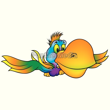flying rainbow parrot