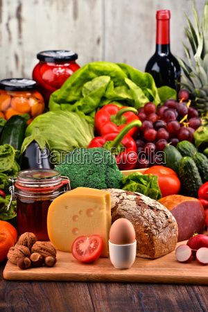 organic food including vegetables fruit bread